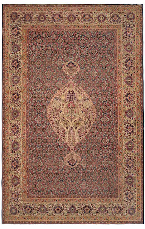 This Persian room-size Kermanshah (11-7 x 17-10) likely took a team of six weavers over three years to hand loom during the mid-19th century