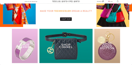 What Goes Around Comes Around Web site with Chanel vintage merchandise. Image credit: What Goes Around Comes Around