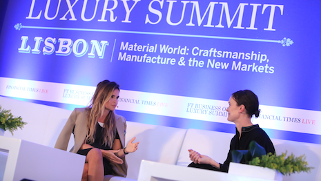 Financial Times fashion editor Jo Ellison interviewing a luxury marketer at last year's FT Business of Luxury Summit in Lisbon, Portugal. Image credit: Financial Times