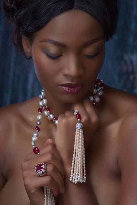 Satta Matturi Endless Elegance long-rope necklace in 18ct Yellow/White Gold, rubellites, garnets, pearls and diamonds. Image credit: Satta Matturi Fine Jewellery