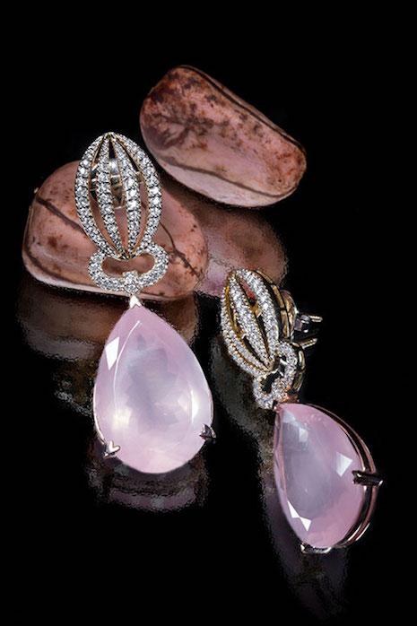 Satta Matturi earrings in 18ct yellow gold, rose quartz and diamonds inspired by the kola nut native to the rainforests in West Africa. Image credit: Satta Matturi Fine Jewellery