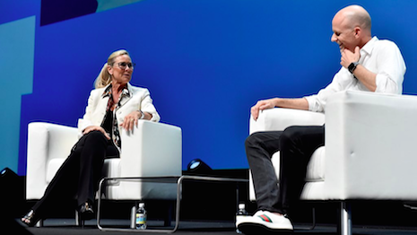 Apple retail chief Angela Ahrendts talking to company marketing communications leader Tor Myhren at Cannes Lions 2018 in Cannes, France. Image credit: Cannes Lions, Angela Ahrendts
