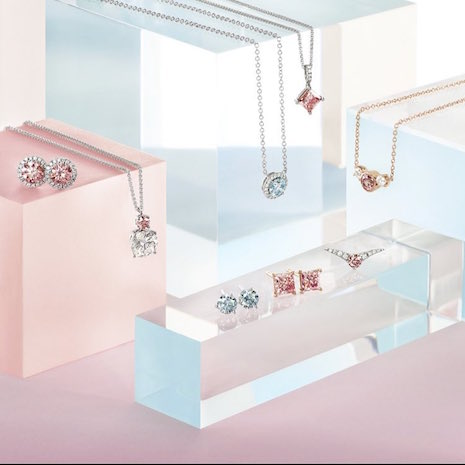 Glittery by association: De Beers' lab-grown diamonds set in earrings and pendants. Image credit: De Beers' Lightbox