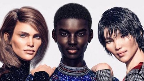 Balmain's latest CGI models Margot (left) and Zhi (right), together with Shudu Gram. Image credit: Balmain