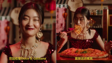 Dolce&Gabbana's China social media video campaign mocked a Chinese woman for not knowing how to use chopsticks to eat pizzas. Image credit: Dolce&Gabbana