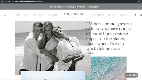 Web site of One Ocean Beauty, a new clean skincare
