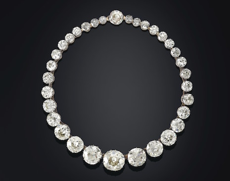 "Lot 22: Golconda Diamond Rivière Necklace from Christie's ""Maharajas & Mughal Magnificence"" auction. Image credit: Christie's"