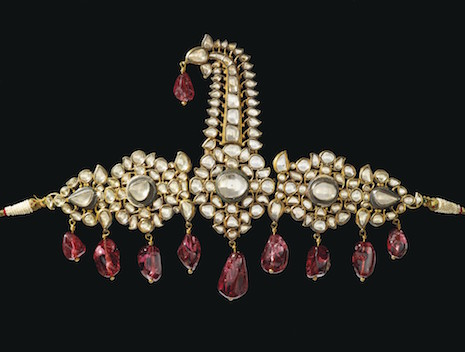 "Lot 311:The Nizams of Hyderabad ""Sarpech"" Diamond and Spinel Turban Ornament at Christie's Maharajas & Mughal Magnificence exhibition. Image credit: Christie's"
