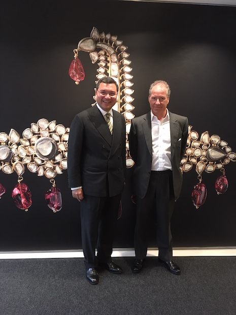 "Prince Mir Maqbool Alam Khan of Belha and Surat with Earl Snowdon, Christie's chairman for Europe, Middle East, Russia and India, at Christie's New York headquarters during the ""Maharajas & Mughal Magnificence"" auction preview, June 13, 2019"