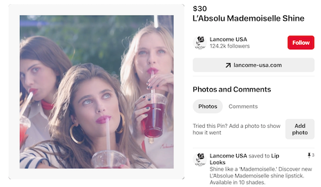 Pinterest Video Pin Lancome