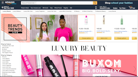 Amazon is wooing luxury brands to sell via its platform, but has not met with much success. That has not stopped the retailer from launching its Luxury Beauty department online. Image credit: Amazon