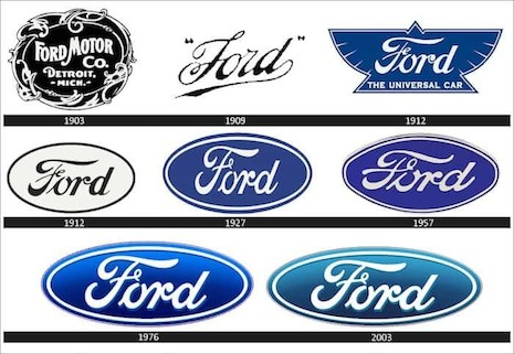 Ford's cursive script in a blue decal is recognizable from a distance. Image credit: Ford Motor Co.