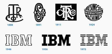 IBM's gets its stripes after several generations of logo evolution. Image credit: Quartz. Copyright IBM