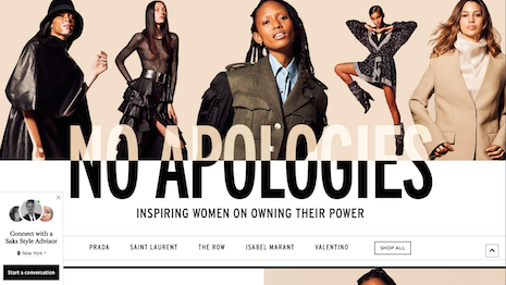 Department store chain Saks Fifth Avenue makes many statements with its women-empowering No Apologies campaign online and in print. Image credit: Saks Fifth Avenue