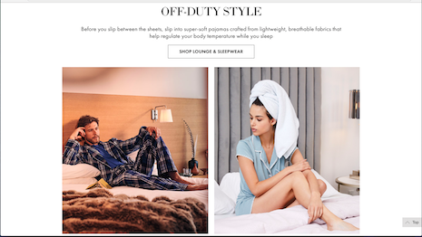 "Neiman Marcus lounge and sleepwear in ""The Art of Sleep"": Sleep in the bed you make. Image credit: Neiman Marcus"