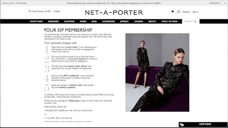 Big shot: Net-A-Porter's EIP page. Image credit: Net-A-Porter