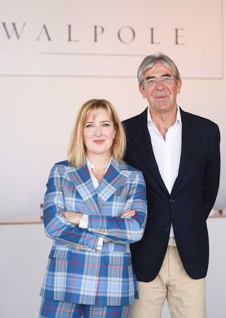 Helen Brocklebank, CEO of Walpole, with Michael Ward, managing director of Harrods and also chairman of Walpole, at the British Luxury Showcase in New York Oct. 25, 2019