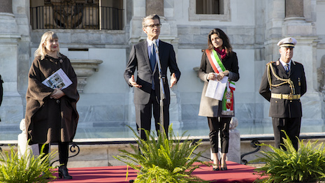 Reopening the four fountains that Fendi paid to restore: At the ceremony, standing left to right, Maria Vittoria Marini Clarelli, Rome's superintendent of cultural heritage; Serge Brunschwig, CEO of Fendi; and Virginia Raggi, mayor of Rome. Image courtesy of Fendi