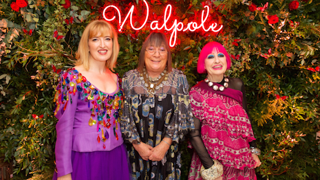 Walpole CEO Helen Brocklebank (left) and Dame Zandra Rhodes (right) at the Walpole British Luxury Awards 2019 function yesterday at The Dorchester hotel in London's Mayfair district. Image credit: Walpole