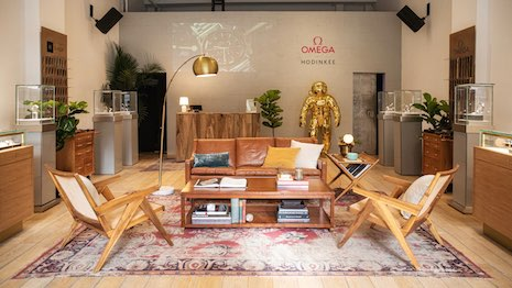 Interior of the Hodinkee popup in Manhattan's SoHo district selling and displaying Omega watches. Image courtesy of Hodinkee and Omega