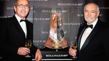 James Bond producer Michael G. Wilson and Etienne Bizot from the Bollinger family at Hotel de Crillon in Paris Nov. 7. Image credit: Champagne Bollinger