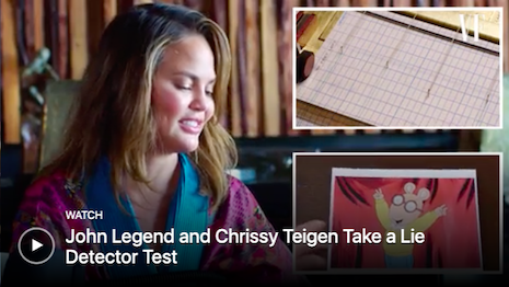 Entertainers Chrissy Teigen and husband John Legend take a lie detector test as part of Vanity Fair Hollywood's new YouTube entertainment destination. Image credit: Vanity Fair