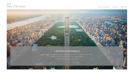 Marketing copy for the what is arguably the world's thinnest tall building, 111 West 57th Street in New York. Image credit: Property Markets Group and Spruce Capital Partners