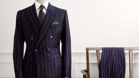Anderson & Sheppard's English drape cut epitomizes the silhouette of classic bespoke British tailoring. Image credit: Anderson & Sheppard