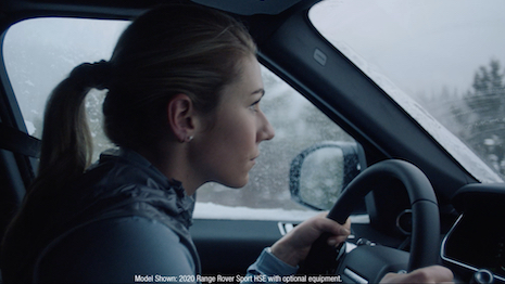 Olympic Gold medallist and U.S. alpine skier Mikaela Shiffrin driving the Land Rover Sport in the commercial. Image courtesy of Land Rover North America