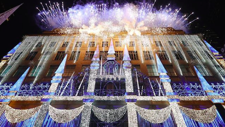 Fireworks display as Saks unveils holiday windows and lighting at its Fifth Avenue flagship store in New York. Image credit: Saks Fifth Avenue