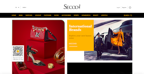 The English-language version of Secoo's homepage. Image credit: Secoo