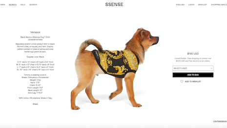 Versace Black Barocco Medusa Dog T-Shirt on Ssense.com, $195. Image credit: Ssense