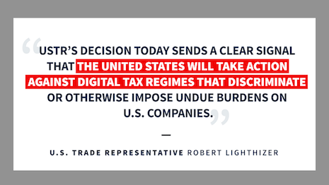 The United States will threaten retaliatory tariffs if countries impose punitive taxes on its tech national champions. Image credit: USTR