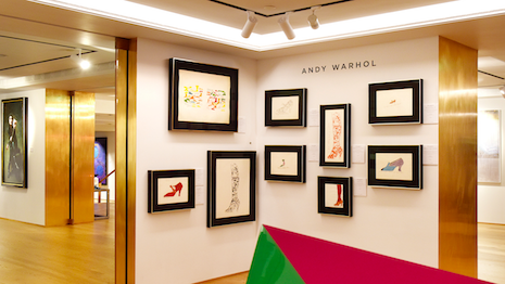 Andy Warhol artwork displayed in Art at Harrods, a new 4,000-square-foot gallery at the Harrods flagship department store in London. Halcyon Gallery is the partner for the gallery. Image credit: Harrods, Halcyon Gallery