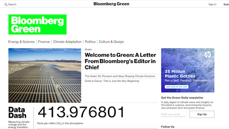 Bloomberg Green is the latest brand to ride the sustainability wave. Image credit: Bloomberg Green