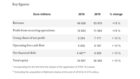 Key figures for 2019 LVMH revenue performance. Source: LVMH