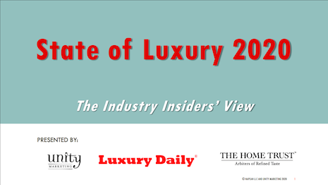 Luxury Daily's State of Luxury 2020: The Industry Insiders' View report is produced in conjunction with Unity Marketing and The Home Trust International. it is available for free with a new annual non-refundable subscription to Luxury Daily