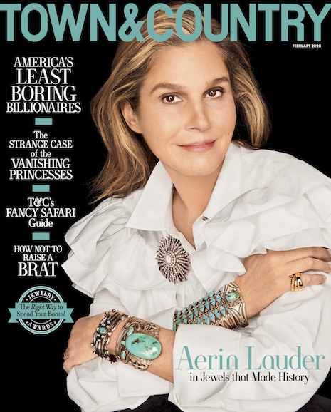 Aerin Lauder, founder of the Aerin lifestyle brand, is on the cover of Town & Country's February 2020 issue. Image courtesy of Town & Country