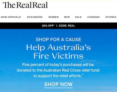 The RealReal donated 5 percent of sales generated Jan. 7 on the resale site. Image credit: The RealReal