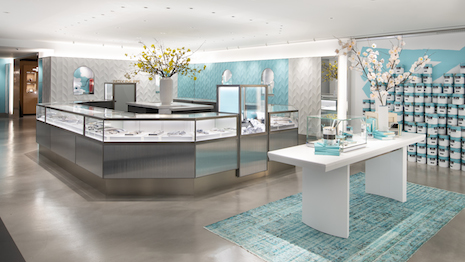 The interior setting of the Tiffany Flagship Next Door store bears codes of the brand while elevating with a clean and modern look. Image courtesy of Tiffany & Co.