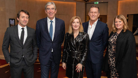Walpole's great and good at the CEO & Chairmen's annual dinner at the Four Seasons Hotel in London Jan. 13: From left to right, Marco Gentile, EMEIA president for Burberry; Michael Ward, chairman of Walpole and managing director of Harrods; Helen Brocklebank, CEO of Walpole; Andrew Maag, CEO of dunhill; and Jenny Urquhart, chairman of Johnstons of Elgin. Image credit: Walpole
