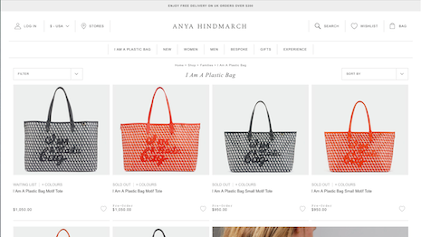 """Anya Hindmarch Web site shows two """"I Am A Plastic Bags"""" sold out and the rest available for pre-order for April stocks. Image credit: Anya Hindmarch"""