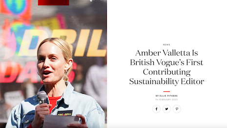 British Vogue announcing Amber Valletta as contributing sustainability editor. Image credit: British Vogue