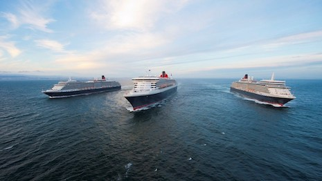 Cunard's Three Queens: Queen Mary 2, Queen Elizabeth and Queen Victoria. Image courtesy of Cunard