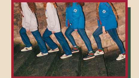 Gucci's #accidentalinfluencer campaign for its reissued and reimagined Gucci Tennis 1977 sneaker. Image courtesy of Gucci