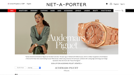 Audemars Piguet sees potential for increased ecommerce sales via the Net-A-Porter relationship. Image credit: Net-A-Porter