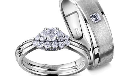 Platinum Days of Love wedding bands. Image courtesy of Platinum Guild International