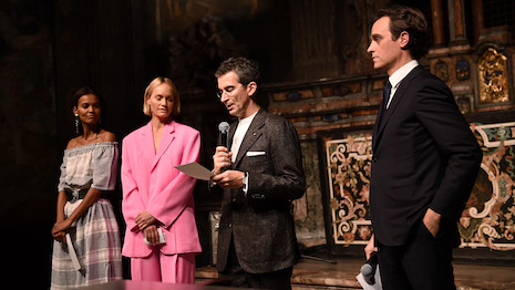 MILAN, ITALY - FEBRUARY 22: (L-R) Liya Kebede, Amber Valletta, Federico Marchetti and Emanuele Farneti attend the Vogue Yoox Challenge - The Future of Responsible Fashion Dinner event at S. Paolo Converso on February 22, 2020 in Milan, Italy. (Photo by Jacopo M. Raule/Getty Images for Yoox)