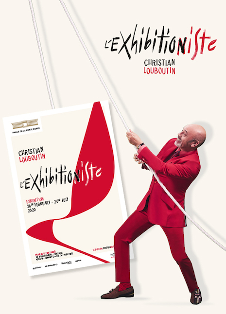 Poster for the Christian Louboutin L'Exhibitioniste showing Christian Louboutin in a playful pose. Image credit: Christian Louboutin