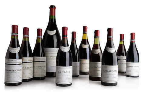Top selling wines from Sotheby's Wine Market Report 2019. Image courtesy of Sotheby's